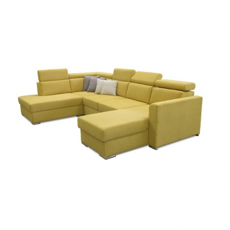 Luxusní sedací souprava, žlutá / hnědé polštářky, levá, MARIETA U