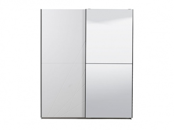 Šatníková skriňa s posuvnými dverami a zrkadlom Aubrey - biela