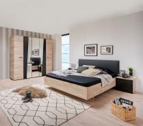 Malá spálňa Marcus - dub sivý/čierna