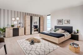 Veľká spálňa Marcus - dub sivý/čierna