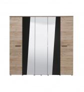 Päťdverová šatníková skriňa so zrkadlom Marcus - dub sivý/čierna