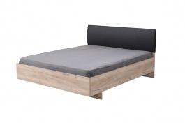 Manželská posteľ 160x200cm Marcus - dub sivý/čierna