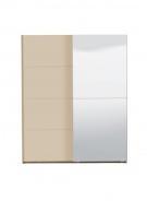 Šatníková skriňa s posuv.dverami a zrkadlom Ciri - dub sivý/béžová