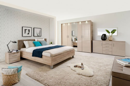 Luxusná spálňa Ciri - dub sivý/béžová