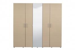 Päťdverová šatníková skriňa so zrkadlom Ciri - dub sivý/béžová