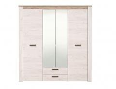 Štvordverová šatníková skriňa so zrkadlom Henry - dub biely/dub šedý
