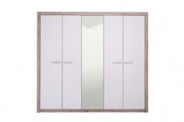 Päťdverová šatníková skriňa so zrkadlom Shine - dub sivý/biela