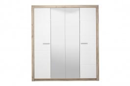 Štvordverová šatníková skriňa so zrkadlami Shine - dub sivý/biela