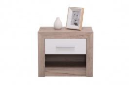 Nočný stolík so zásuvkou Shine - dub sivý/biela