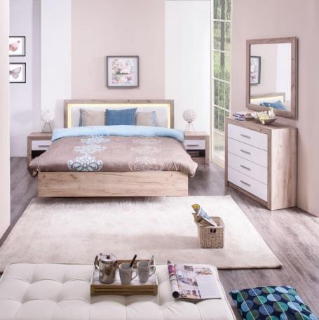 Malá spálňa Shine - dub sivý/biela