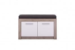 Lavica s úložným priestorom a sedákom Shine - dub sivý/biela