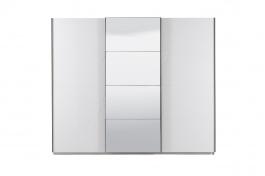 Trojdverová šatníková skriňa Aubrey s posuvnými dverami a zrkadlom - biela