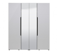 Štvordverová šatníková skriňa so zrkadlom Stuart - biela/dub čierny