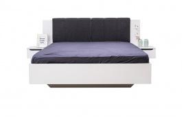 Manželská posteľ 160x200cm s nočnými stolíkmi Stuart - biela/šedá/dub čierny