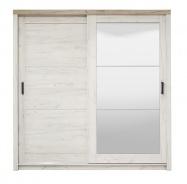 Šatníková skriňa s posuvnými dverami a zrkadlom Henry - dub biely/dub šedý
