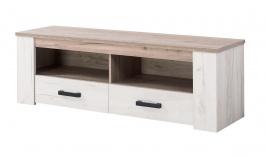 Televízny stolík Henry - dub biely/dub šedý