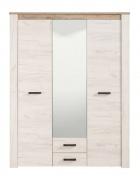 Trojdverová šatníková skriňa so zrkadlom Henry - dub biely/dub šedý