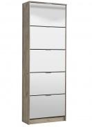 Výklopný botník 5-dvierkový so zrkadlom Vincent - dub šedý