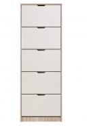 Výklopný botník 5-dvierkový Vincent - dub šedý/biela