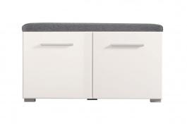 Predsieňová lavica s úľožnym priestorom a sedákom Falka - biela/sivá