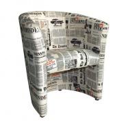 CUBA křeslo D-8 látka vzor noviny