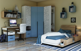 Detská izba Trendy  - biela/dub zlatý/modrá