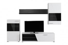 Moderná obývacia zostava Aksel - biela/dub čierny
