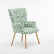 Designové křeslo, vzorovaná zelená látka / dřevo, BRANDO