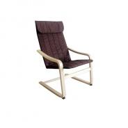 Relaxační křeslo, březové dřevo / hnědá látka, TORSTEN