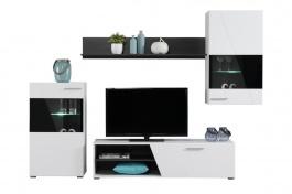 Moderná obývacia zostava s osvetlením Aksel - biela/dub čierny
