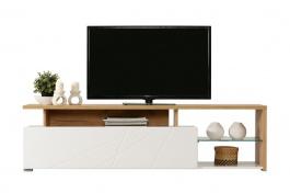 Televízny stolík Alaric - biela/dub zlatý