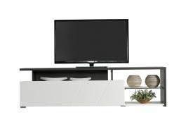 Televízny stolík Alaric - biela/dub čierny