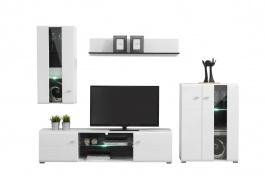 Obývacia stena s osvetlením Goro - biela/dub čierny