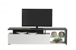 Televízny stolík s osvetlením Alaric - biela/dub čierny