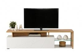 Televízny stolík s osvetlením Alaric - biela/dub zlatý