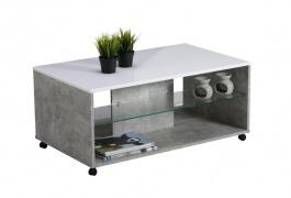 Konferenčný stolík Carter - betón/biela