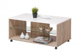 Konferenčný stolík Carter - dub šedý/biela
