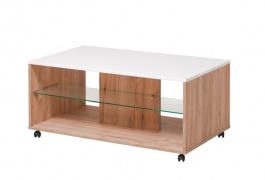Konferenčný stolík Carter - dub zlatý/biela