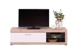 Televízny stolík s osvetlením Ronja - dub sivý/biela