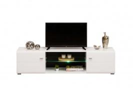 TV stolík s osvetlením Derfel - biela/čierna