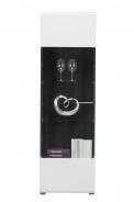 Úzká presklená vitrína Isadora - biela/dub čierny
