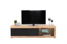 Televízny stolík s osvetlením Ronja - dub zlatý/čierna