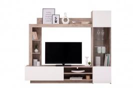 Obývacia stena Sarun - dub sivý/biela