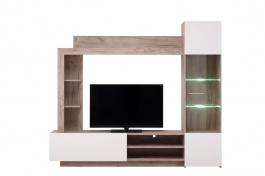 Obývacia stena s osvetlením Sarun - dub sivý/biela