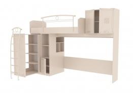 Vyvýšená posteľ s úložným priestorom Claudia 80x190cm - krémová