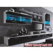 Obývacia stena, LED s osvetlením, biela / čierna extra vysoký lesk HG, LEO
