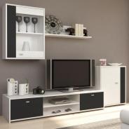 Obývacia stena, biela / čierna, GENTA