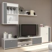 Obývacia stena, biela / sivá, GENTA