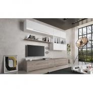Obývacia stena, MDF / DTD laminovaná, dub nelson / biely HG, SOFI