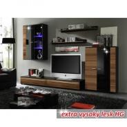 Obývacia stena, s LED osvetlením, slivka / čierna extra vysoký lesk HG, Canes NEW